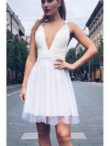 Fashion A Line V Neck Open Back White Tulle Homecoming Dress, Sexy White Prom Dress
