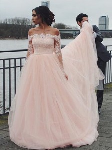 Charming A Line Off the Shoulder Long Sleeve Brush Pink Lace Tulle Wedding Dress with Applique