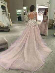 Gorgeous A Line V Neck Backless Pink Tulle Wedding Dress with Applique, Fairy Wedding Dress with Court Train