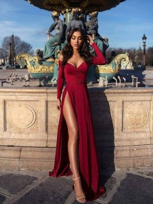 Charming A Line Off the Shoulder Long Sleeves High Slit Prom Dress, Sexy Wine Long Evening Dress