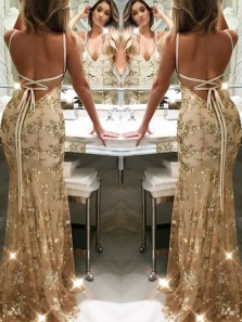 2018 New Arrival Sexy Mermaid V Neck Backless Gold Lace Prom Dress, Long Evening Dress