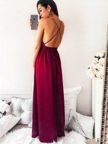 Elegant A Line V Neck Spaghetti Straps Burgundy Sequins and Tulle Long Prom Dress, Sexy Long Evening Dress