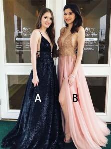 Charming A Line V Neck Backless Slit Black Long Prom Dress with Applique, Formal Evening Dress
