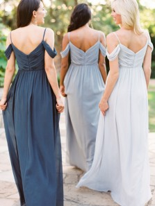 Fashion Elegant Off the Shoulder Chiffon Long Bridesmaid Dress, Discount Bridesmaid Dress Under 100