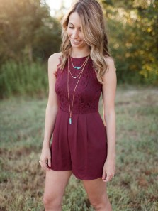 Cute Round Neck Burgundy Lace Jumpsuits Homecoming Dress Under 100