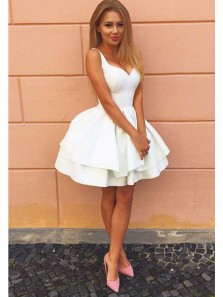 Cute A Line Sweetheart Open Back White Satin Homecoming Dress, Short Prom Dress