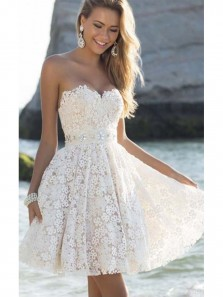 2018 New Arrival A Line Sweetheart White Lace Homecoming Dress with Beading, Backless Short Prom Dress