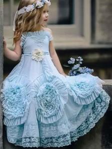 2018 New Arrival Cute Tutu Dress, Teal Tulle Flower Girl Dress