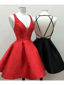 Discount Charming A Line V Neck Black/ Red Satin Homecoming Dress with Cross Back, Under 100