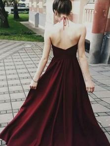 Charming A Line Halter Backless Burgundy Satin Prom Dress with Applique, Formal Evening Dress
