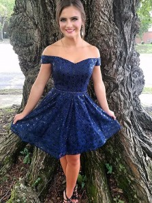 Cute A Line Off the Shoulder Navy Lace Short Homecoming Dress