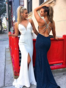 Unique and Gorgeous Mermaid V Neck Backless Slit White Long Prom Dress with Beading, Formal Evening Dress