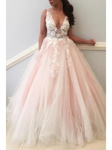 Gorgeous Ball Gown V Neck Applique Pink and White Tulle Wedding Dress