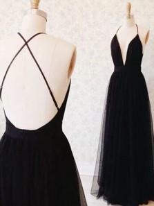 Elegant A Line V Neck Backless Black Tulle Long Prom Dress, Formal Evening Dress