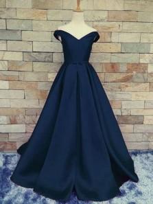 Elegant A Line Off the Shoulder Backless Navy Long Prom Dress, Charming Formal Evening Dress