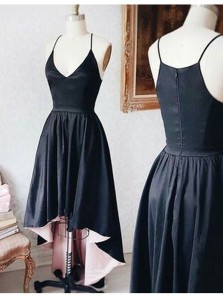 Elegant A Line V Neck Spaghetti Straps High Low Black and Pink Homecoming Dress, High Low Prom Dress