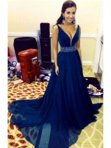 Charming A Line V Neck Backless Beading Navy Long Prom Dress with Beading, Long Evening Dress