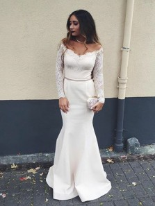 Charming Mermaid Off the Shoulder Long Sleeve White Prom Dress, Elegant Formal Evening Dress with Lace Sleeve