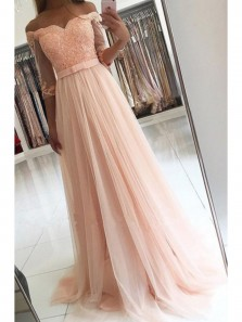 Elegant A Line Off the Shouder Chiffon and Tulle Pink Prom Dress, Applique Half Sleeve Formal Evening Dress