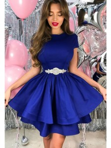 Cute A Line Scoop Royal Blue Satin Homecoming Dress with Beading, Simple Short Dress Under 100