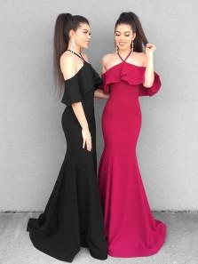 Charming Mermaid Off the Shoulder Spaghetti Straps Black Long Prom Dress, Elegant Evening Dress