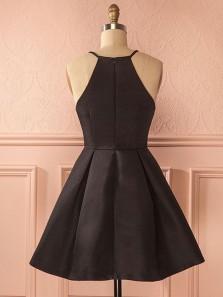 Cute A Line Halter Satin Black Short Dress, Little Black Dress, Short Homecoming Dress Under 100