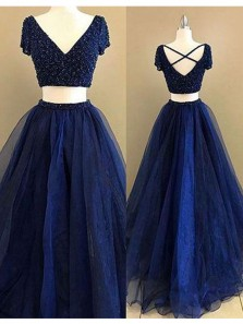 A Line Two Piece V Neck Open Back Navy Blue Long Prom Dress with Beading, Formal Evening Dress