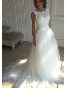 Charming Ball Gown Scoop Open Back Lace Ivory Tulle Wedding Dress with Court Train