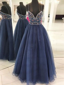 Gorgeous V Neck Spaghetti Straps Backless Tulle Navy Prom Dress, Elegant Formal Evening Dress with Embroidery