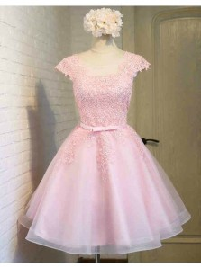 Cute A Line Round Neck Cap Sleeve Pink Tulle Homecoming Dress, Formal Short Prom Dress