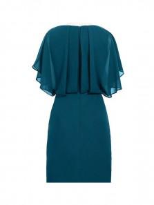 Sheath V-Neck Short Navy Blue Chiffon Mother of the Bride Dress with Beading