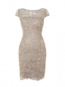 Simple Sheath Scoop Champagne Knee Length Lace Mother of the Bride Dress