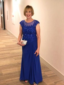 Sheath Scoop Cap Sleeve Lace Royal Blue Long Mother of the Bride Dress with Beading