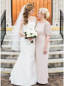 Sheath Scoop Sequins Half Sleeve Elastic Satin Long Mother of the Bride Dress