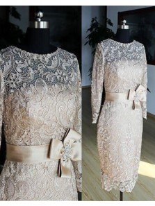 Sheath Scoop Lace Long Sleeve Below the Knee Champagne Mother of the Bride Dress with Bow