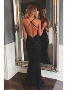 Charming Mermaid V Neck Spaghetti Straps Backless Black Lace Long Prom Dress, Sexy Evening Dress with Cross Straps Back