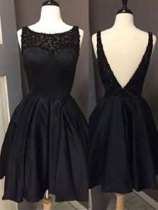 Cute A Line Scoop Open Back Satin Black Short Homecoming Dresses with Beading, Little Black Dresses, Short Prom Dresses
