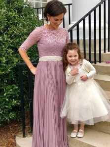 Elegant Column Scoop Lace Half Sleeve Chiffon Brush Long Mother of the Bride Dress with Beading