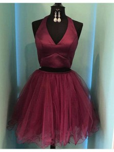 Simple A Line Two Piece V Neck Open Back Burgundy Tulle Short Homecoming Dresses, Short Prom Dresses