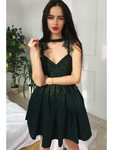 Cute A Line Sweetheart Dark Green Satin Lace Short Homecoming Dresses, Short Prom Dresses