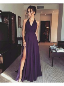 Charming A Line V Neck Open Back High Slit Purple Chiffon Long Prom Dresses, Simple Formal Evening Dresses