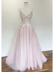 Elegant A Line V Neck Spaghetti Straps Open Back Tulle Pink Wedding Dresses with Applique