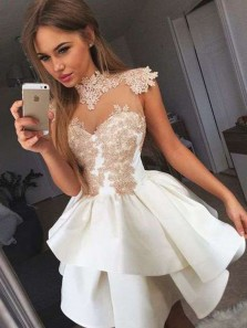 Cute A Line High Neck White Satin and Champagne Applique Short Homecoming Dresses, Short Prom Dresses