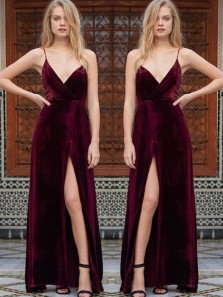 Charming Sheath V Neck Spaghetti Straps Velvet Slit Wine Long Prom Dresses, Elegant Formal Evening Dresses