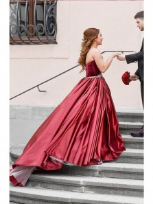 Gorgeous Ball Gown Sweetheart Backless Wine Satin Wedding Dresses with Beading