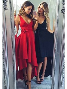 Cute A Line V Neck Red /Navy High Low Homecoming Dresses with Pocket, Simple Short Prom Dresses Under 100
