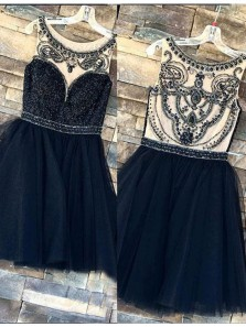 Gorgeous A Line Scoop Navy Tulle Short Homecoming Dresses with Beading, Beautiful Sparkly Short Prom Dresses