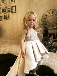 Cute A Line Round Neck Satin High Low Champagne Flower Girl Dresses with Lace
