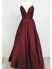 Charming A Line V Neck Wine Taffeta Long Prom Dresses with Pocket, Elegant Formal Evening Dresses