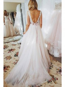 2018 New Arrival Fairy Ball Gown V Neck Backless White Tulle Wedding Dresses with Lace